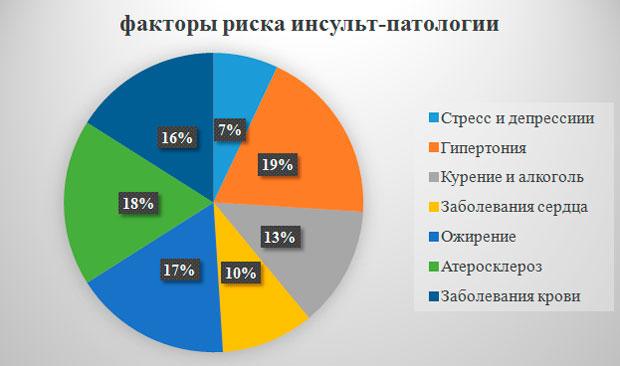 Диаграмма влияния различных факторов на развития рисков инсульт-патологии у человека